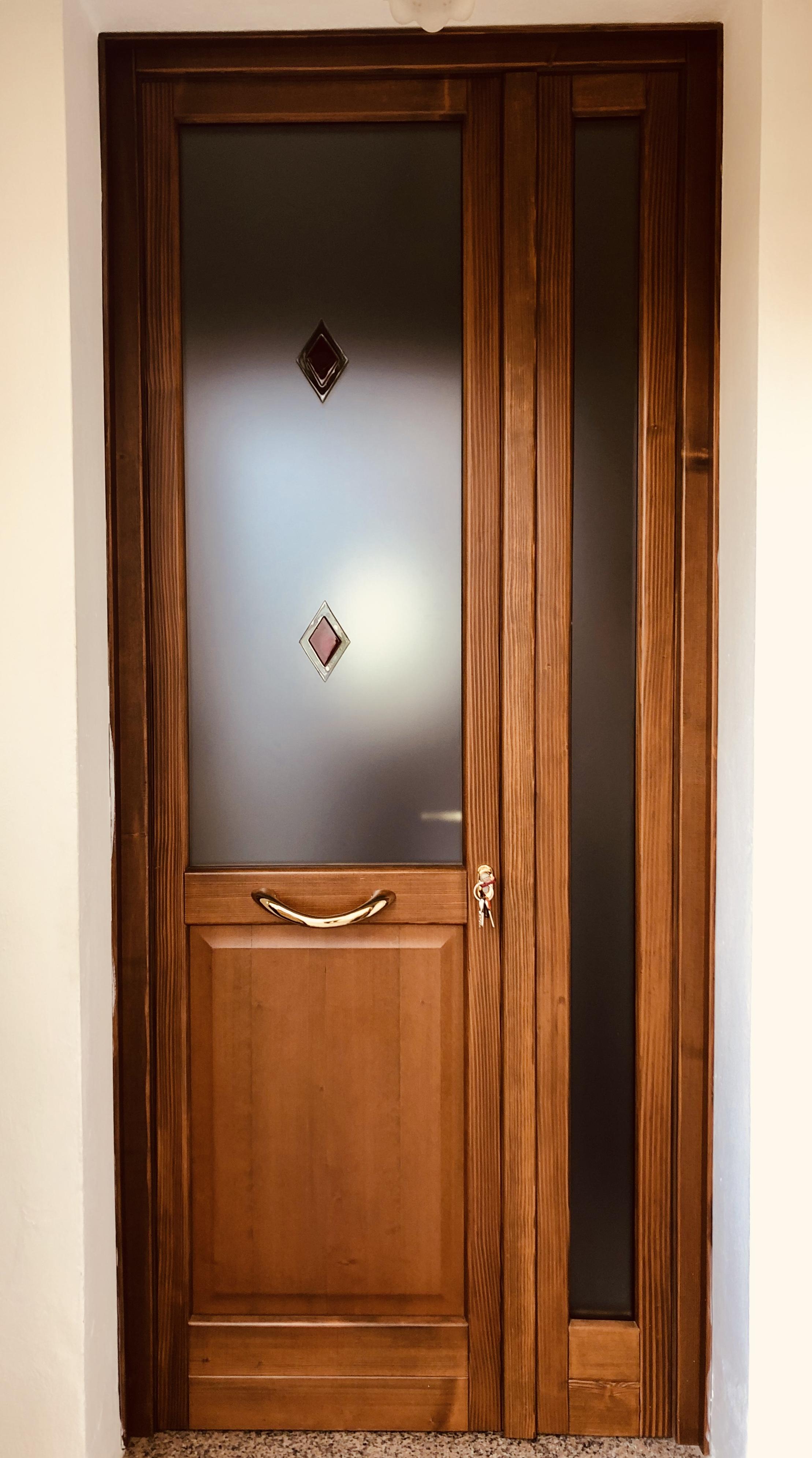 Porte Con Vetro Satinato porta d'ingresso in abete lammellare a due ante con vetro